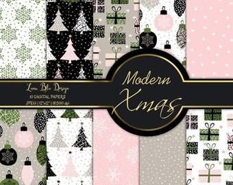 Modern Xmas digital paper, christmas seamless patterns, trendy christmas backgrounds, printable christmas digital papers, holiday clipart