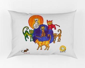 Cats Kids Painting Kit Positive Messages Pillowcase