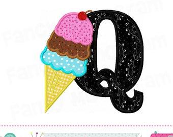 Ice cream cone letter Q applique,Ice cream Monogram Q applique,Q,Summer applique,Q,Ice cream,Font Q,Alphabet design,Q,Birthday letters.