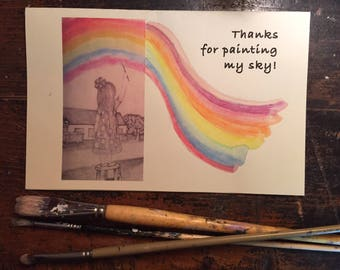 Thank You Card, Paint my Sky, hand painted, hand drawn