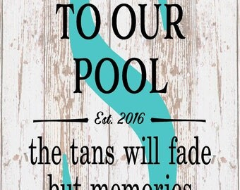 Housewarming Personalized Monogram Welcome To Our Pool Tan Fades Memories Last Forever Monogram Initial Outdoor Canvas Christmas Gift