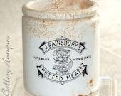 Antique J. Sainsbury's Rare Large Size Potted Meats Stoneware Advertising Jar / Pot c.1900's