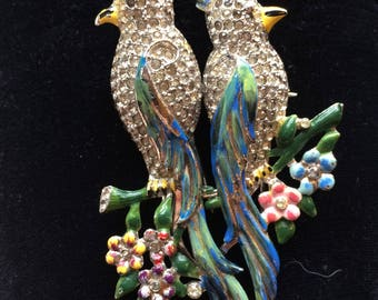CORO DUETTE Birds Of Paradise Vintage Pin Brooch
