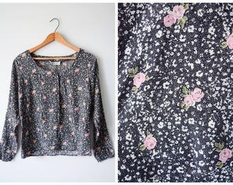 80s floral print blouse | M