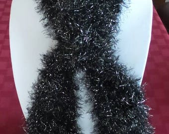 For a Donation! Black and Silver Soft/Fluffy Knitted Scarf - See Note