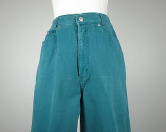 1980s jeans womens jrs size 11/Sostanza/turquoise teal denim/high waist/tapered leg/eighties jeans/retro jeans/bright colored jeans