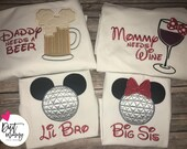 Funny Disney Epcot Family Shirts | Beer & Wine | Name | Big Little Baby | Brother Sister Mom Dad | Embroidered | Vacation | Mickey