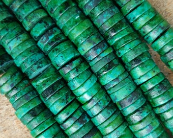 """Natural Chrysocolla Heishi Beads, 10.5mm x 2.5mm, Dyed, - 15"""" Strand"""