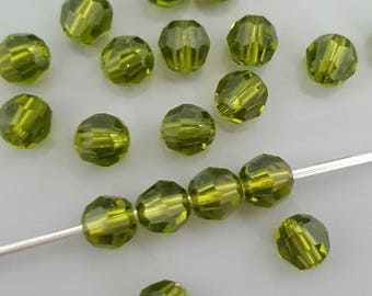 Swarovski 4mm Round (5000) Faceted Crystal Beads - OLIVINE- Select 10, 20 or 50 Beads