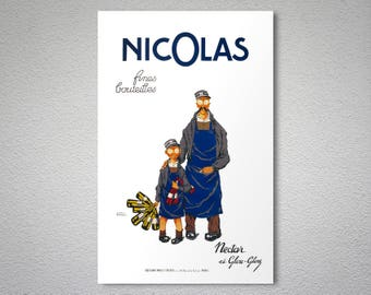 Nicolas Fines Bouteilles  Vintage Poster, 1930  - Poster Print, Sticker or Canvas Print / Gift Idea