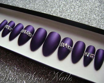 Hand Painted False Nails Press on Nails Full Cover Matte Purple Crystal Feature