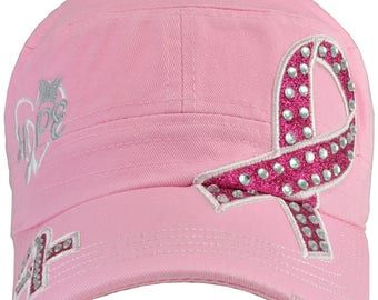 Breast Cancer Awareness Hope Light Pink Hat Distressed Bill - Free Shipping