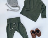 Baby Unisex shirt and pants set, Harem pants, Long sleeve tee, Green Waffle set, Modern cothes
