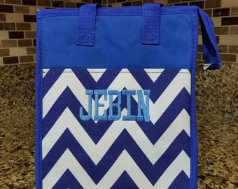 Blue Lunch bag with Personalized Name or Monogram-School lunch bag