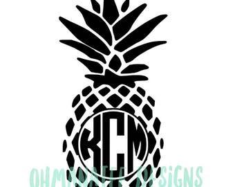 Custom Pineapple Monogram Sticker