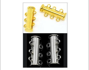 4 x Magnetic Slider Clasps, 3-strand clasps, silver or gold finish, jewellery clasps, multi strand clasps, slider clasps, UK seller
