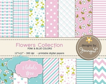 50% OFF Mother's Day Digital Paper, Pink and Blue Flower / Blossom, Baby Girl Shower, Baptismal, Birthday Digital Background Papers 12x12