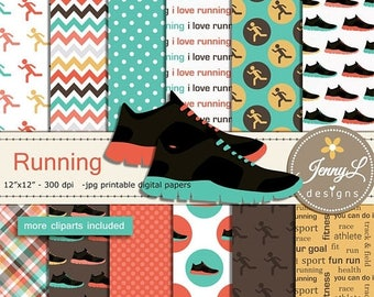 50% OFF Running Digital Papers and Clipart SET, Sports, Exercise Fitness, Workout, Running Shoes, Track and Field, Jogging for Digital Scrap