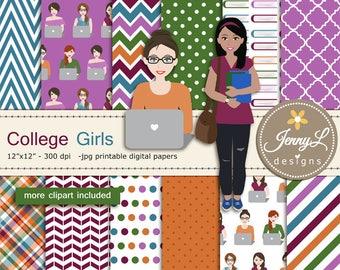 College Students University Girls, Books, Laptop for Digital Scrapbooking,  invitations, Planner