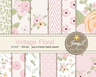 50% OFF Floral digital paper, Vintage Flowers , Antique for Digital scrapbooking, invitations, birthday, wedding, Planners