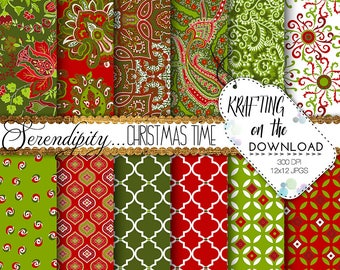 christmas paper pack holiday paper pack christmas paisley digital paper festive digital paper pack traditional christmas paper pack