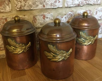 Vintage French copper kitchen storage cannisters