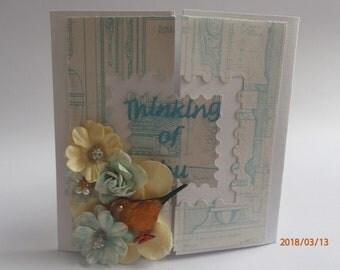 Beautiful handmade, shabby chic, fold card