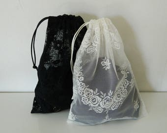 Two lingerie bags, Lingerie travel bags, Lingerie pouch, Wedding gift, Pochette lingerie, Pochon guipure, Bridesmaid gift, Gift for her