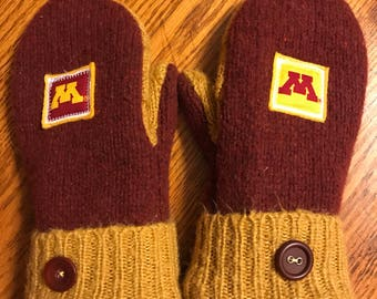 Recycled sweater mittens/Soft and warm handmade wool sweater mittens - Go Gophers!