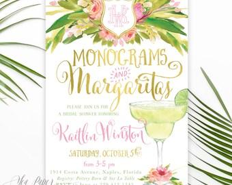 Monograms & Margaritas Bridal Shower Invitation: Monogram Bridal Shower Invite, Tropical Floral Margaritas, Digital Or Printed - Kaitlin