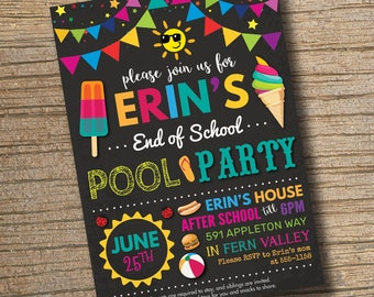End of School Pool Party Invitation, End of School Bash, Summer Party Invitation, Pool Party Invite, Summer Invitation (Printable)
