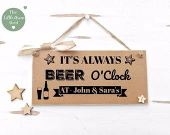 Beer O'Clock Plaque Sign Personalised Fun Gift Vintage Style