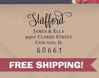 Custom Address Stamp, Stafford Return Address Stamp, ECO-FRIENDLY Stamps, Housewarming Gifts