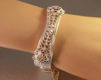 White Enamel Bangle Bracelet, Metal Lace Filigree, Gold Accents, Spring Wedding, Stacking