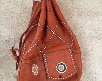 French vintage leather boho duffle