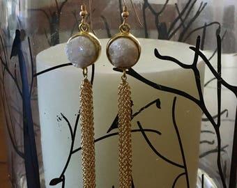 Gold druzy ling chain earrings