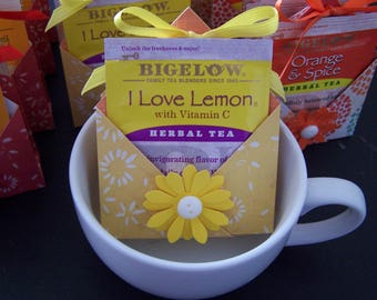Summer Tea Party Favors SET of 12 -  Summer Party Favors - Tea bag Holder - Tea Party Favors - Tea Favor - Flower Party Favors
