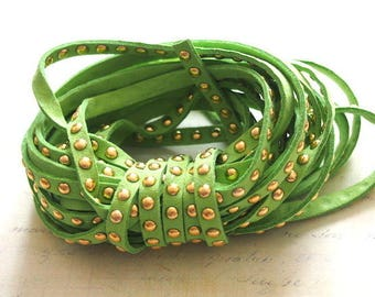 Green suede Ribbon Apple studded golden coins