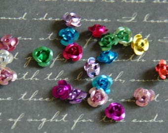light and colorful flowers aluminum 7x5mm 20 beads