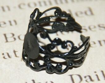 Ring filigree lace metal painted black 18mm