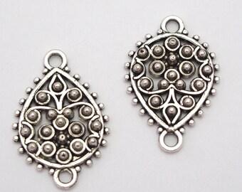 2 connectors ethnic lotus metal button silver 25x17mm