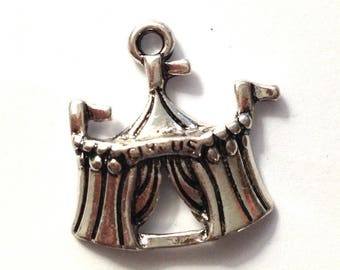 Great charm silver-plated 22x21mm circus tent