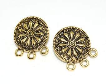 2 ethnic round ear studs - triple connection 19mm antique gold metal