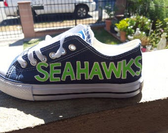 custom Seattle SEAHAWKS men and women sports fan hand painted shoes!