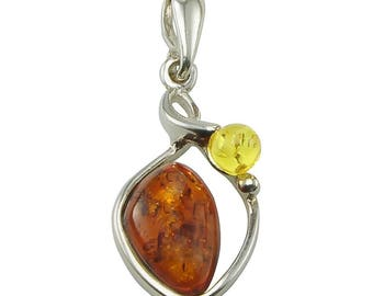 "Sterling Silver and Baltic Amber Pendant ""Pola"""