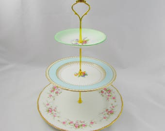 Three Tier Cake Stand with Mismatched Plates, Vintage Bone China, 3 Tiered Mismatch Cake Stand, Royal Stafford, Paragon
