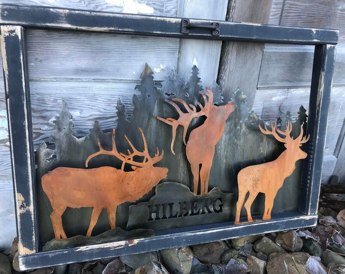 Vintage Window, Rustic Sign, Mountain decor, Elk Decor, Rustic Decor, Farmhouse Decor, Old Window decor, Rustic Home Decor, Cabin, Hunting