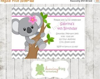 SALE Koala Bear Birthday Invitations - Printed Koala Bear Birthday Invitation by Dancing Frog Invitations