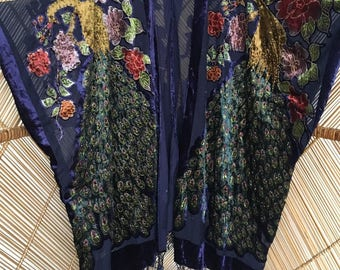 Kimono jacket,velvet jacket,fringe,burnout kimono,devore jacket.gypsy jacket boho,beaded velvet kimono,wearable art,plus siz,devore kimonoe