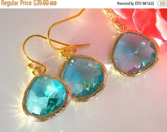 SALE Wedding Jewelry, Aquamarine Earrings and Necklace, Aqua Blue, Soft Blue, Gold Filled, Bridesmaid Jewelry, Pendant Set, Bridesmaids Gift